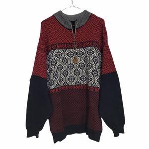 100% Wool Half Zip Cabin Winter Ski Sweater